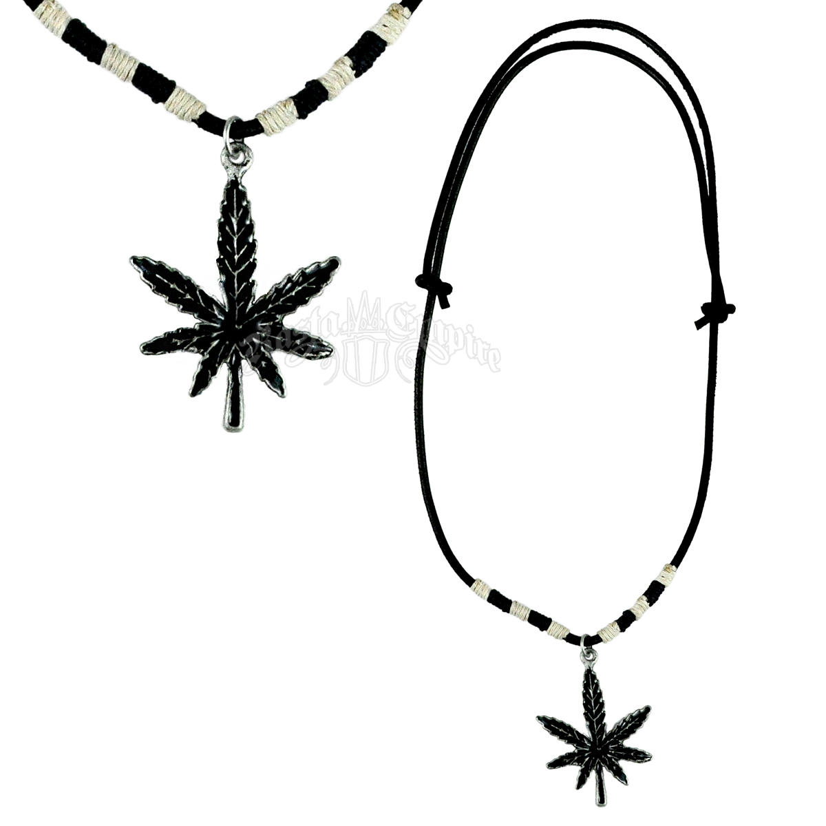 Marijuana Black Leaf Charm Black Leather Necklace