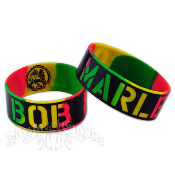 Bob Marley Print Silicone Wristband Tri Color
