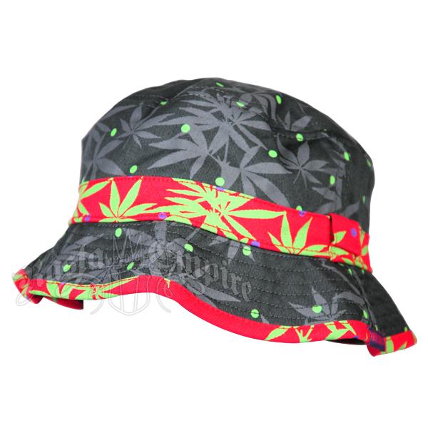 Pot Leaf Grey   Red Bucket Hat 856cc8818165