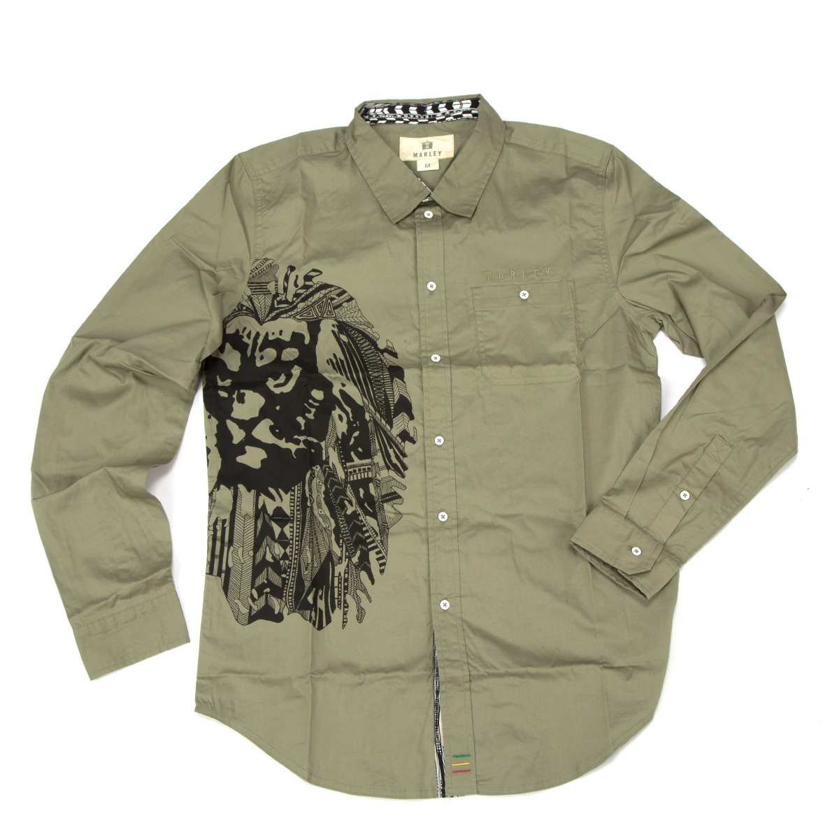 Marley Ikat Lion Light Olive Button Down Shirt – Men's at ...