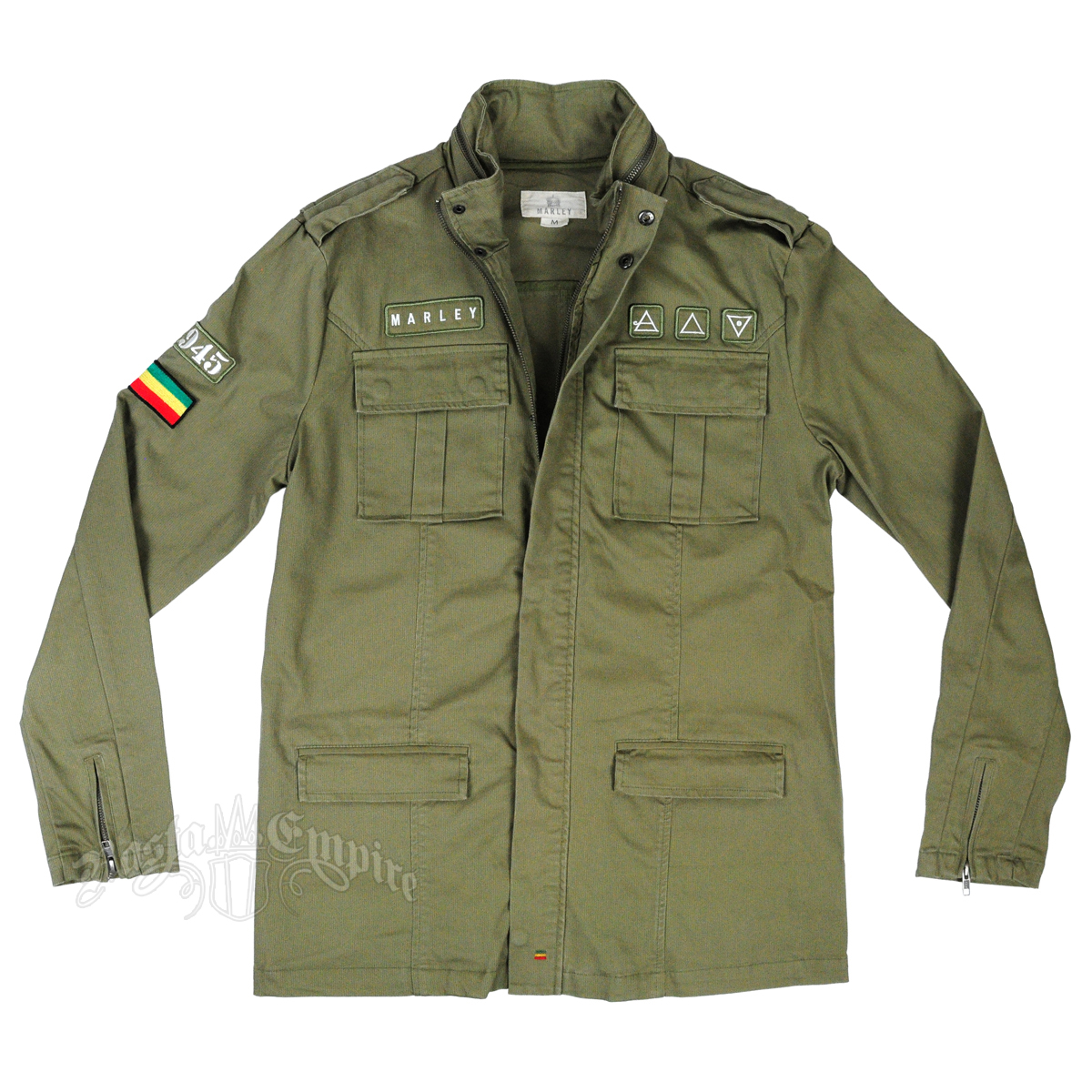 Marley Olive Green Military Jacket - Men's at RastaEmpire.com