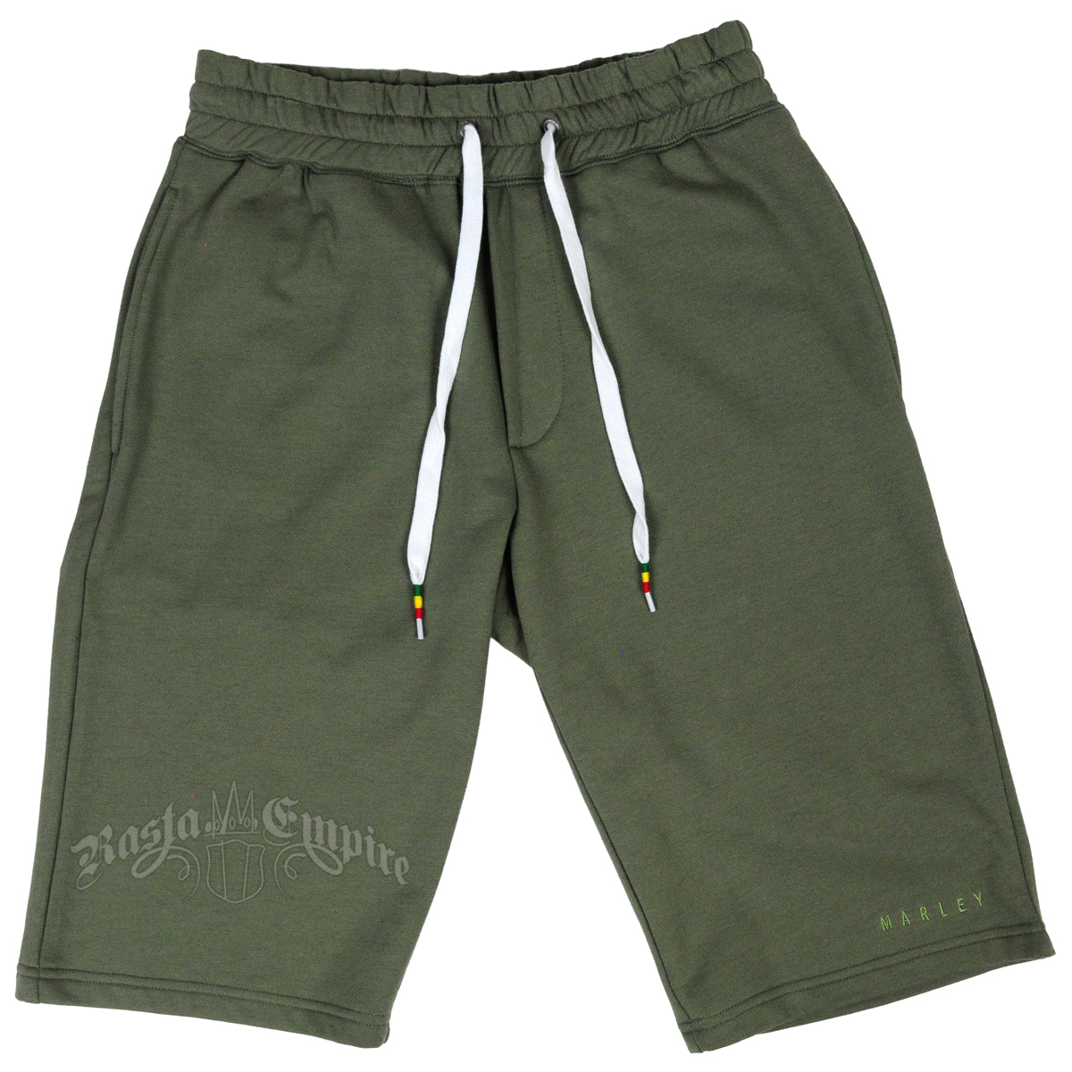 Marley Olive Green Sweat Shorts - Men's at RastaEmpire.com