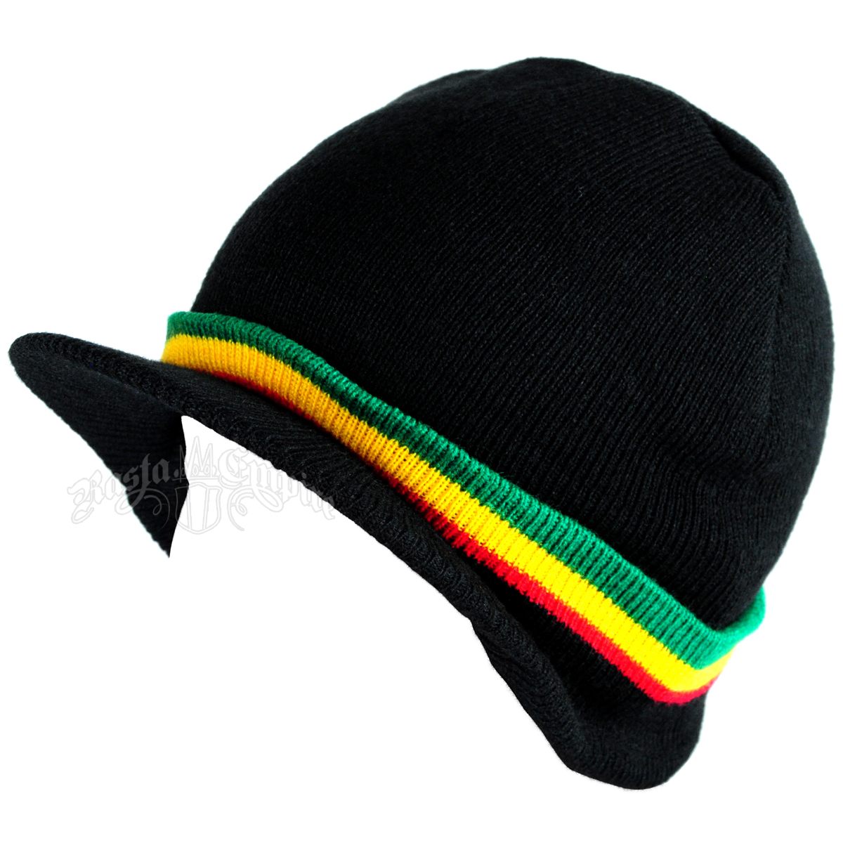 Rasta Striped Cuffed Visor Cap