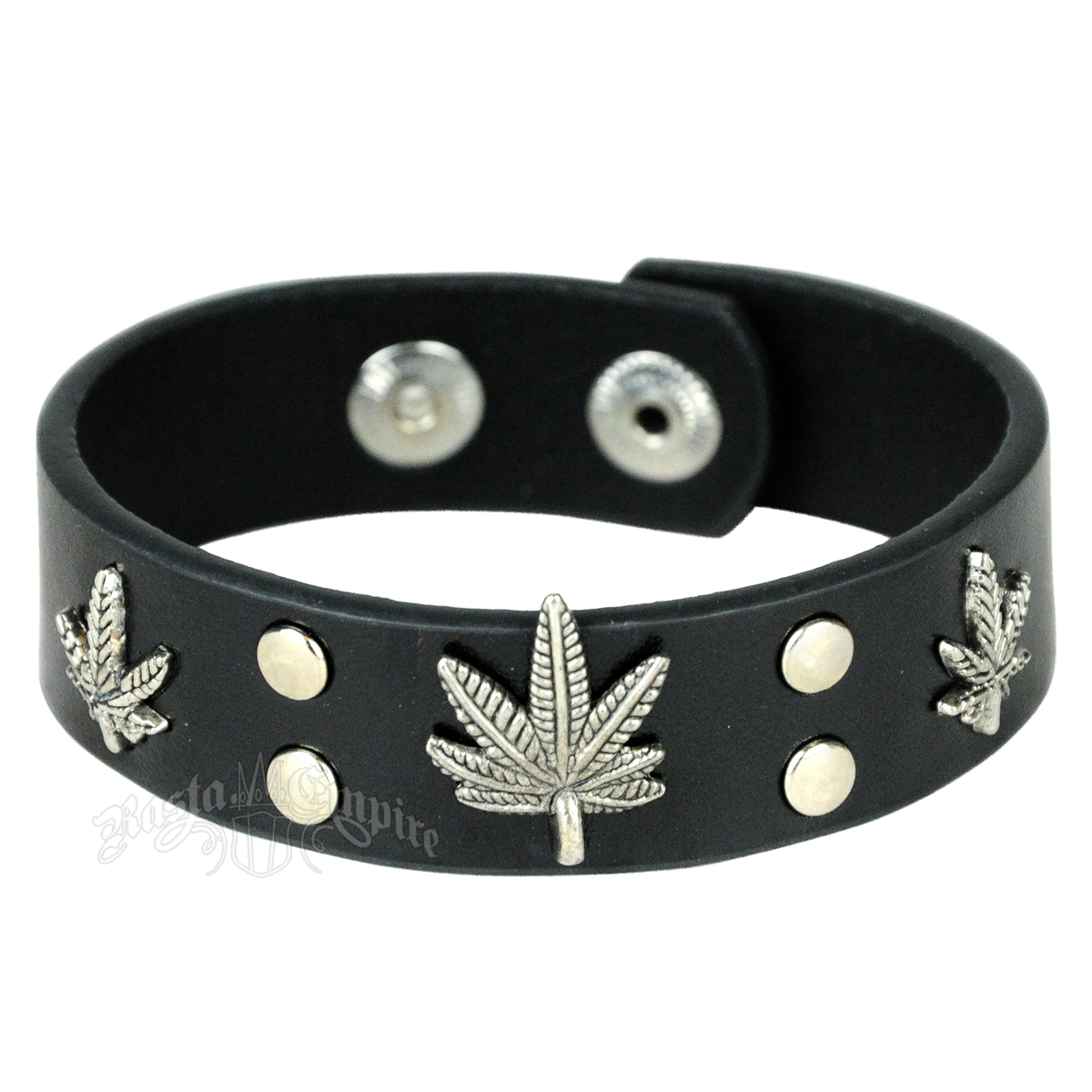 Tri-Leaf Black Leather Cuff Bracelet