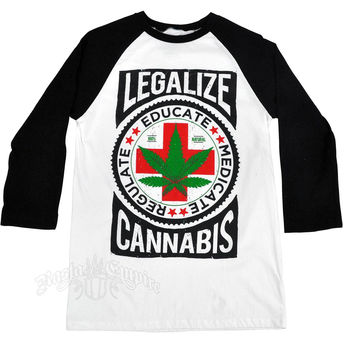 Design t shirt reggae - Seven Leaf Legalize Cannabis White Black Baseball T Shirt Men S