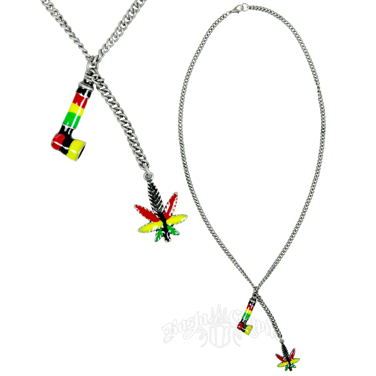 Pipe And Rasta Leaf Charm Necklace