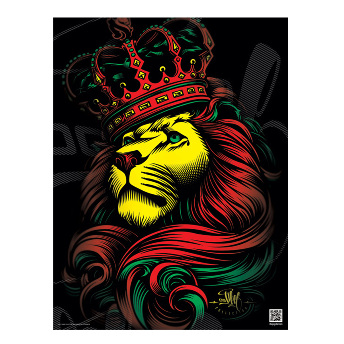 rasta lion and crown poster