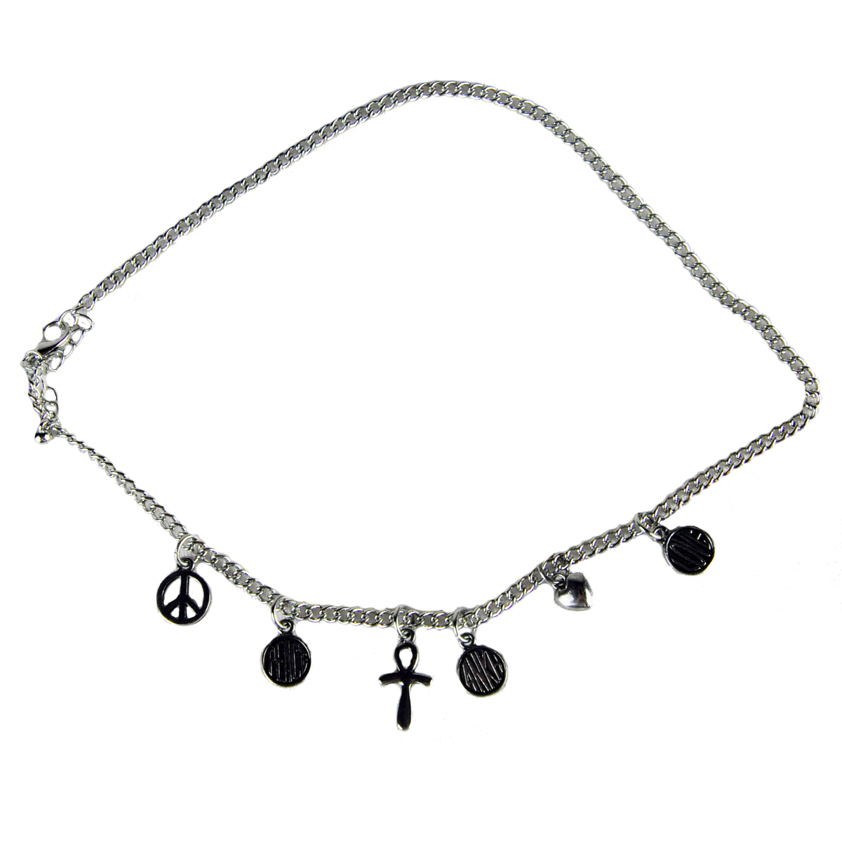 Peace, Ankh & Heart Chain Necklace