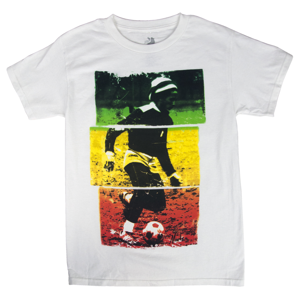 Bob marley soccer 77 rasta tri color white t shirt men 39 s for Band t shirt designs for sale