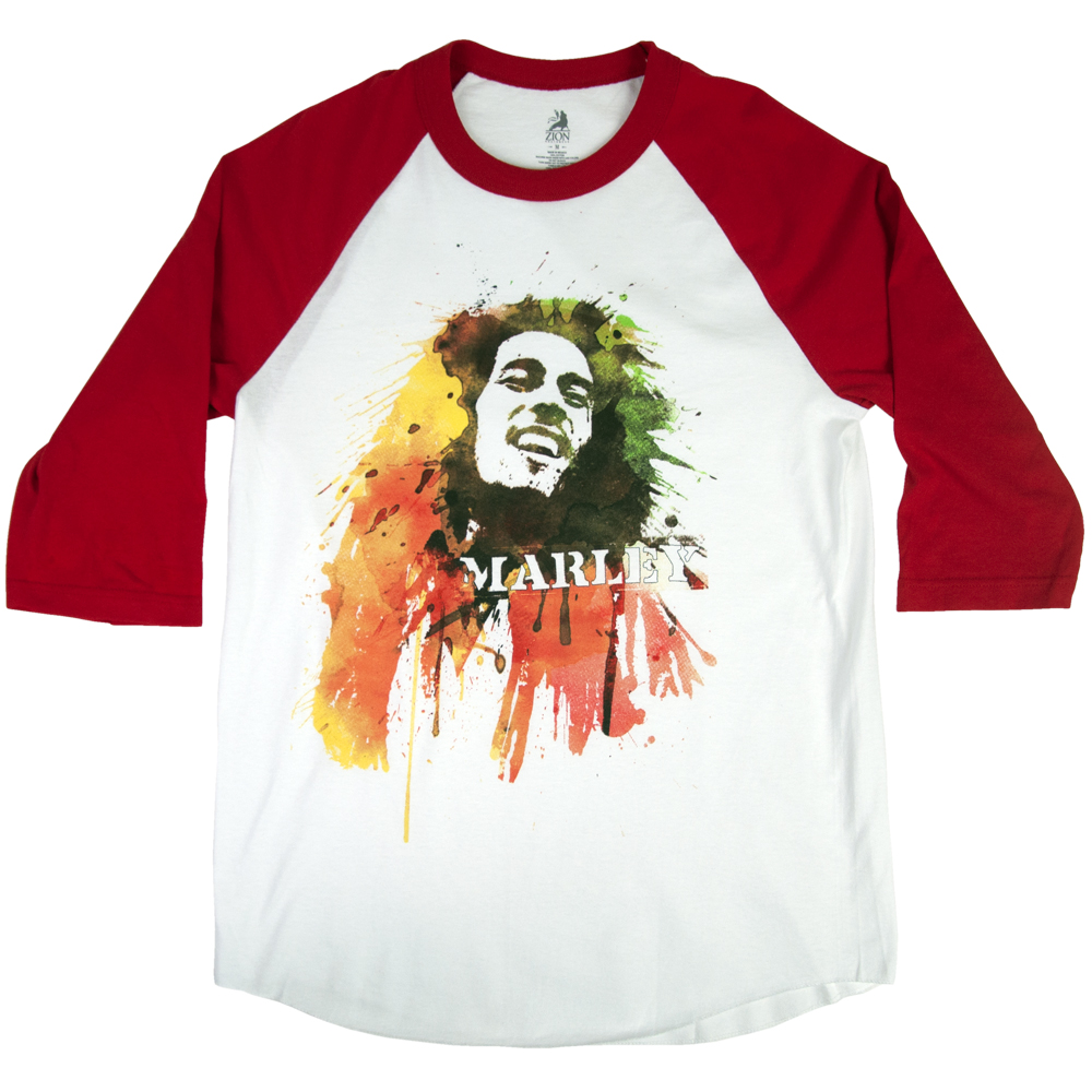 Bob Marley Watercolor Portrait Red & White Raglan – Men's