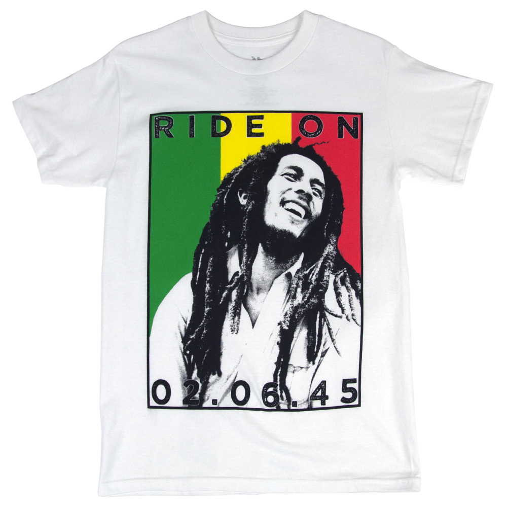 Bob Marley Ride On Rasta Stripes White T-Shirt – Men's ...