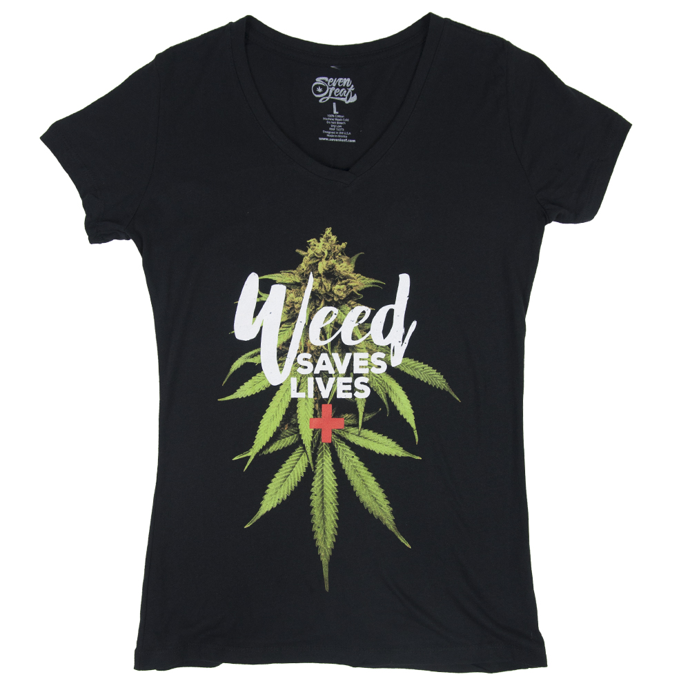 Seven Leaf Weed Saves Lives Black T-Shirt – Women's
