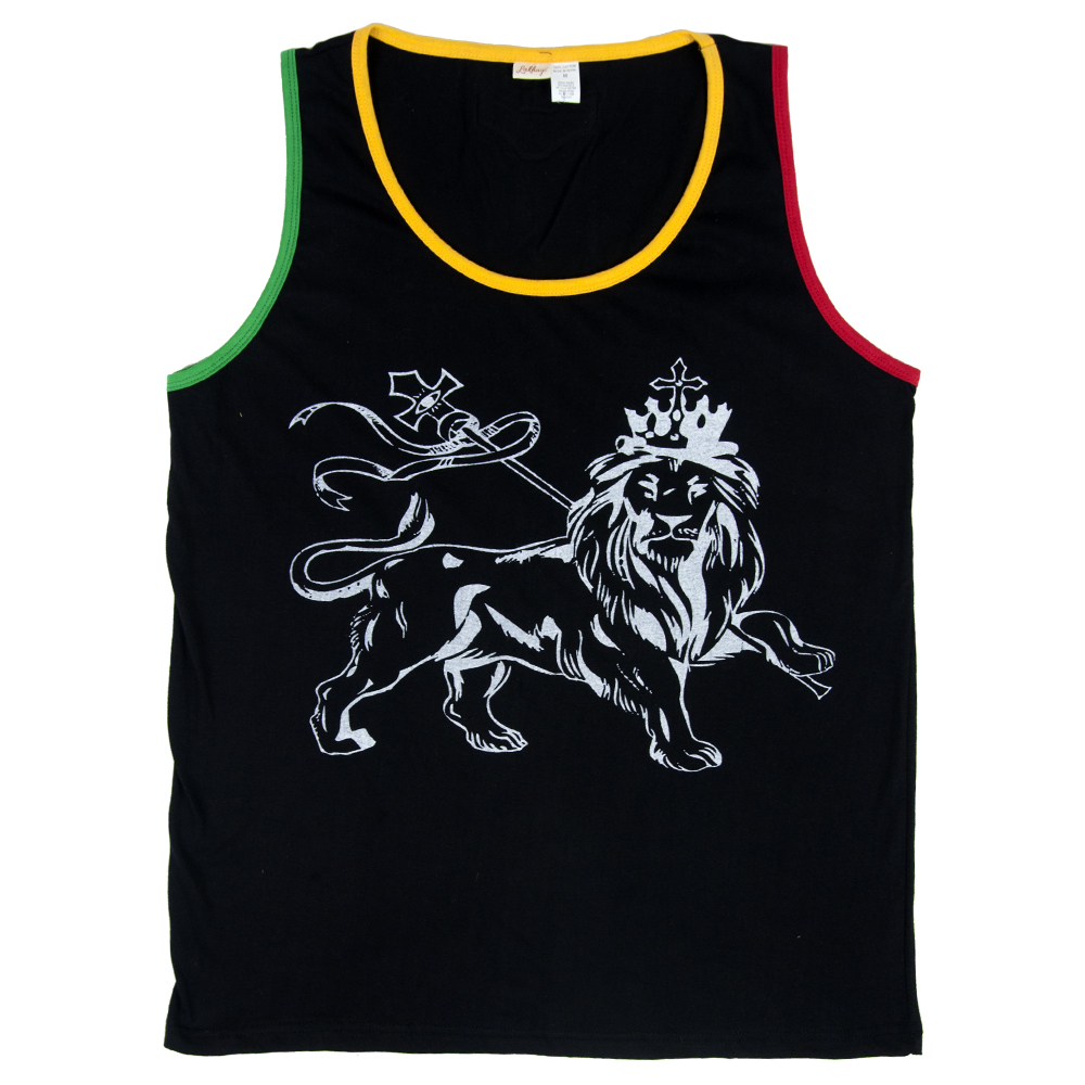 Rasta Lion of Judah Black Tank – Men's