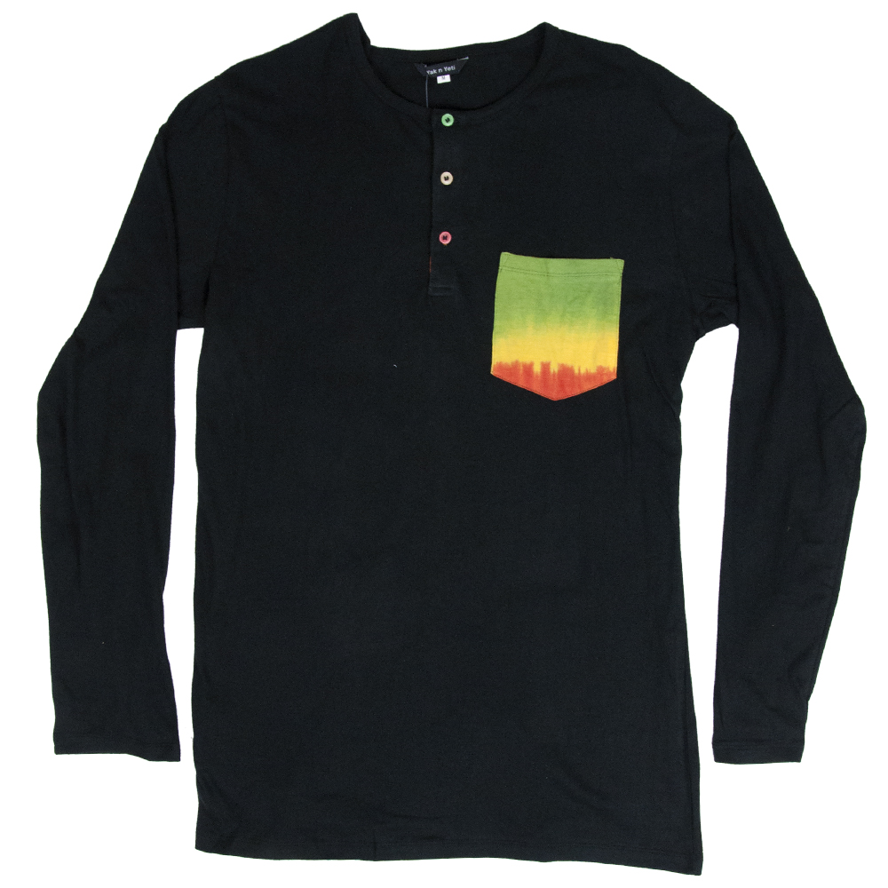 Rasta and Reggae Long Sleeve with pocket T-Shirt - Mens