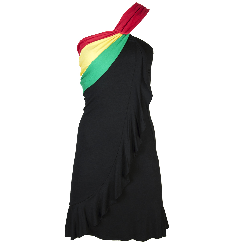 Rasta & Reggae Short Dress with Cross Shoulder Strap