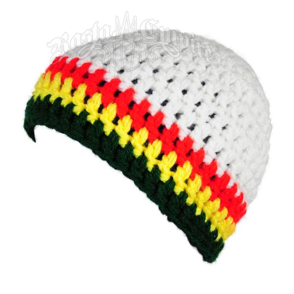 Rasta Crochet Beanie Hat White At Rastaempirecom