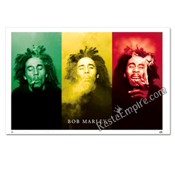 "Bob Marley Smoke 3 Pictures in One Poster 36"" x 24"""