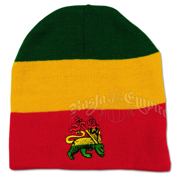 Lion of Judah on Red, Yellow and Green Beanie Cap