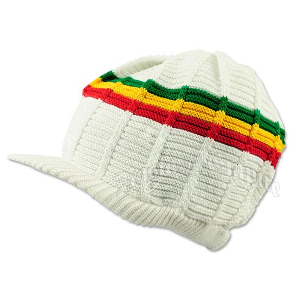 4585998c532 Rasta Cotton Visor Cap - White Rasta Stripes   RastaEmpire.com
