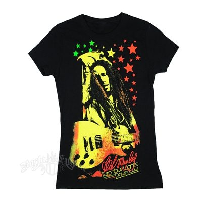 Bob Marley Turn Your Lights Down Low Black T-Shirt - Women's