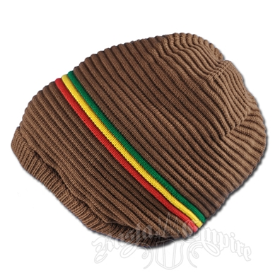 Oversized Beanie Cap - Brown/Rasta Stripe