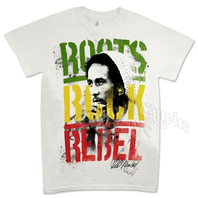 Bob Marley Roots, Rock, Rebel White T-Shirt - Men's