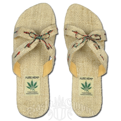 Hemp Sandals with Bow Design - Women's