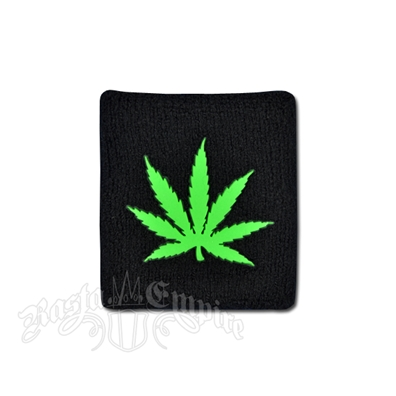 Marijuana Leaf Glow in the Dark Terry Cloth Wristband