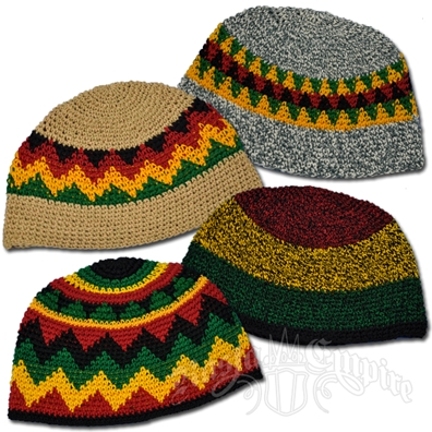 Rasta Multi Color Skull Cap