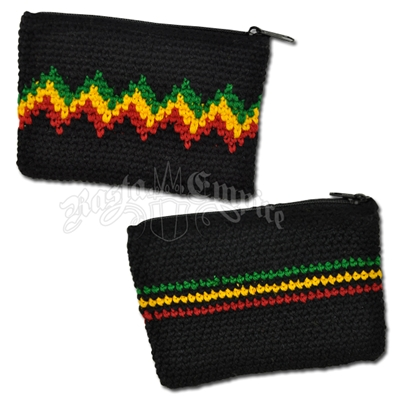 Rasta Crochet Coin Purse - Black