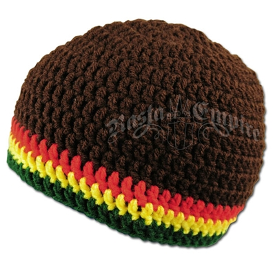 Rasta Crochet Beanie Hat - Brown