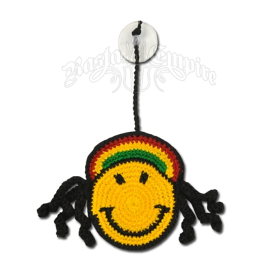 Rasta and Reggae Happy Face with Dreads and Suction Cup