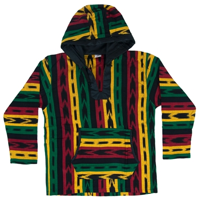 Rasta and Reggae Allover Hooded Poncho
