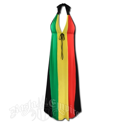 Rasta and Reggae Long Halter Dress with Tie