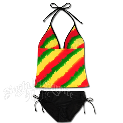Rasta Tie Dye Tankini & Lowrise Bottom Swimsuit
