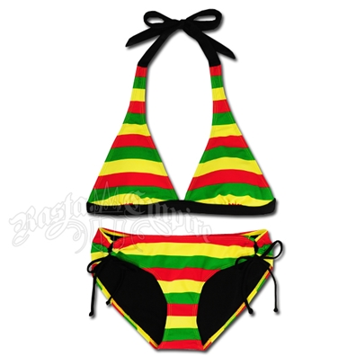 Rasta Stripe Halter & Loop Side Tie Bikini Swimsuit
