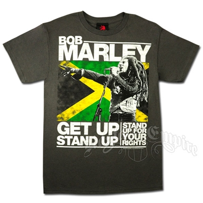 Bob Marley Get Up Stand Up Charcoal T-Shirt - Men's