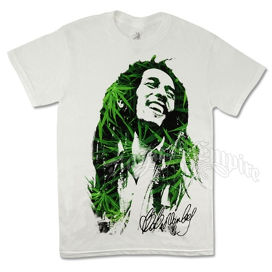 Bob Marley Leaves Dreads White T-Shirt - Men's