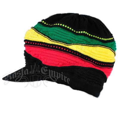 Rasta Waves and Black Cotton Visor Cap