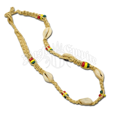 Rasta Beads, Hemp and Cowry Shells Necklace