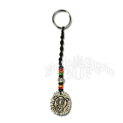 Rasta Lion Bone Beaded Keychain