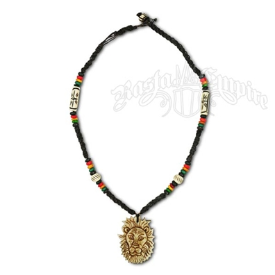 Rasta Lion Bone Pendant Necklace