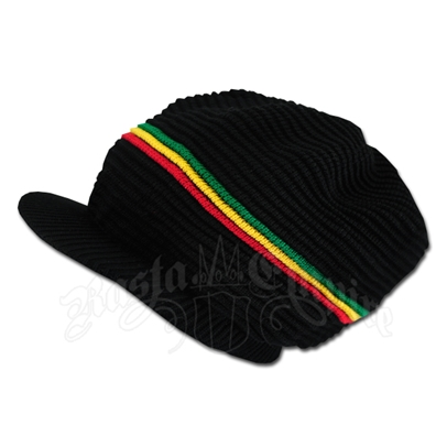 Rasta Ribbed Cotton Cap - Black/Rasta