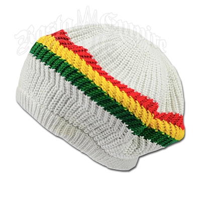Rasta Stripes and White Tam Headwear