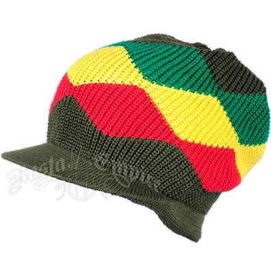 Rasta Waves Cotton Cap with Visor - Olive/Rasta