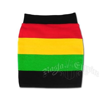 Rasta and Reggae Knit Mini Skirt With Wide Stripes