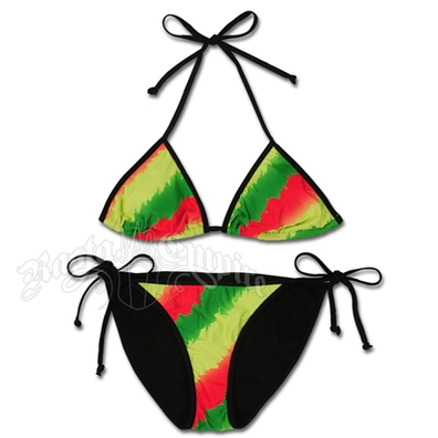 Rasta Tie Dye Triangle & String Bottom Swimsuit
