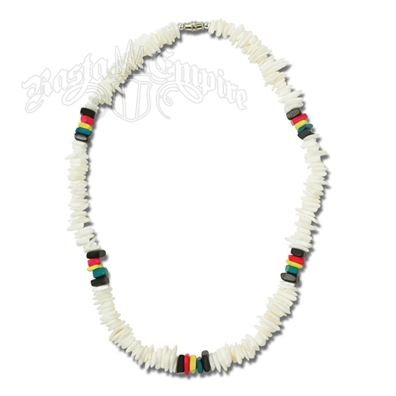 Rasta Square Cut Beads and Shell Necklace