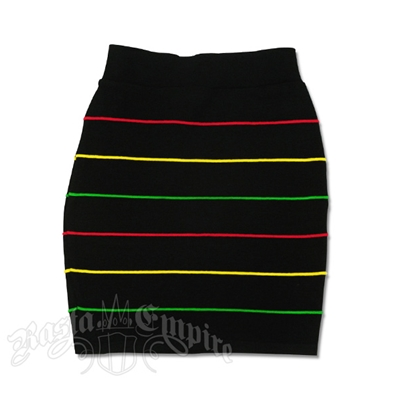 Rasta and Reggae Knit Mini Skirt With Narrow Stipes