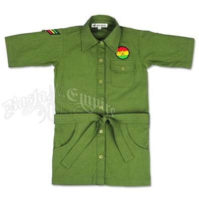 Dub Wise Little Girls Rasta Button Down Shirt - Dark Olive Green